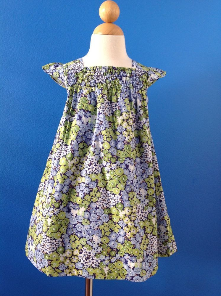 JANIE AND JACK Blue Green Floral ENCHANTED GARDEN Spring Dress Size ...