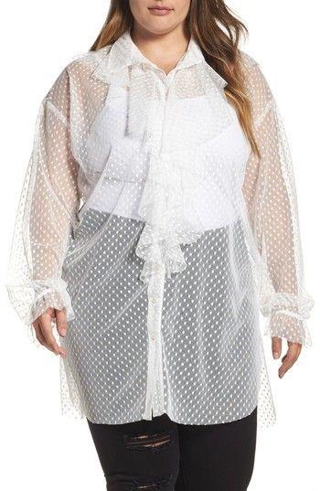 875baff73c3 Plus Size Women's Elvi Polka Dot Mesh Ruffle Tunic Shirt | Products ...