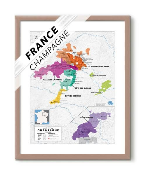 Champagne Map with all 17 Grand Cru Vineyards and all Premier Cru sites too!