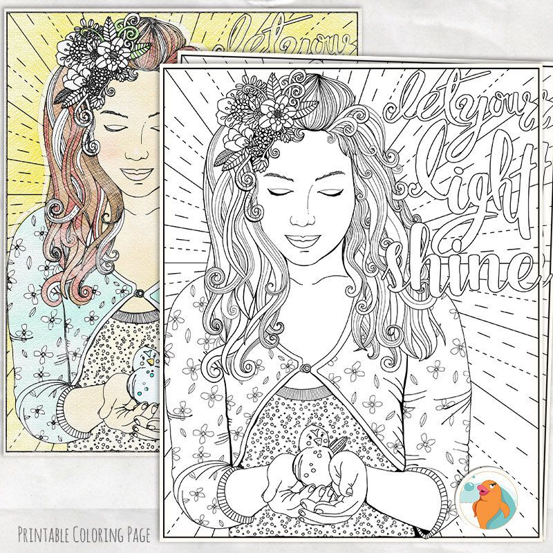 inspirational colouring page let your light shine printable young adult coloring page strong woman teenage girl instant download by fishscraps on etsy