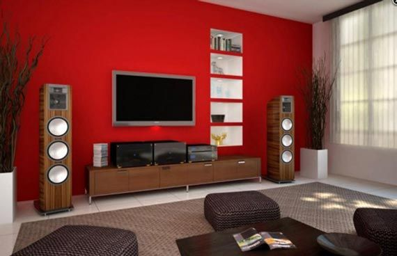 Modern Living Room Tv Wall Units In Wood Brown Color For Awesome And Delightful Design To Make Cozy