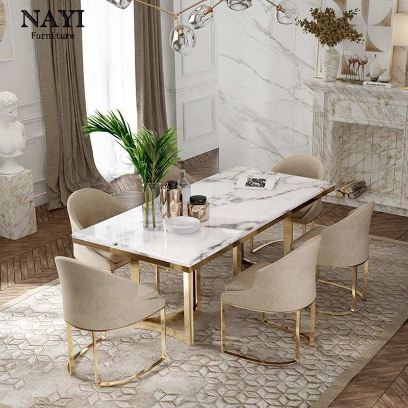Restaurant Furniture Dining Tables Chairs Set Marble New And 6 Custom Packing Room Modern Office Apartment Dining Dining Table Marble Dining Room Design Luxury