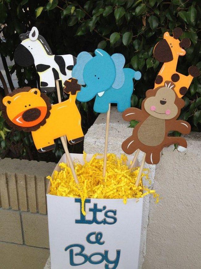 Centros de mesa para baby shower de animales Cumple 2 años romulo - centros de mesa para baby shower