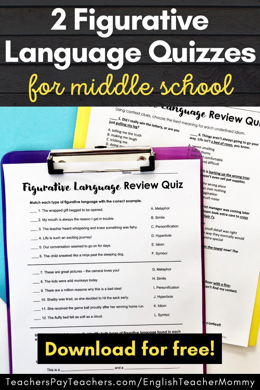 Figurative Language Worksheets Printable Digital In 2021 Figurative Language Figurative Language Middle School Language Quizzes