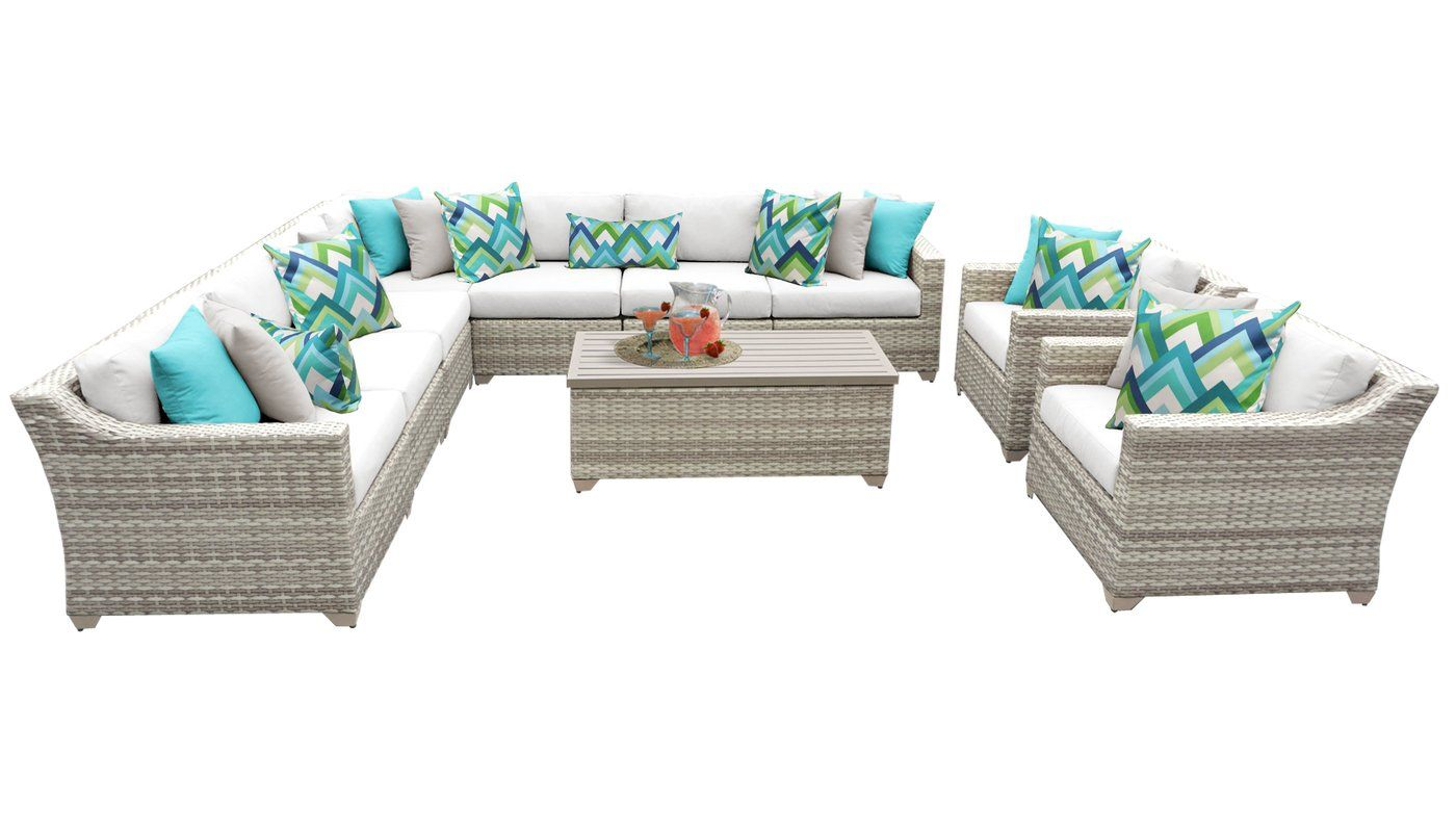 Falmouth 10 Piece Rattan Sectional Seating Group With Cushions Seating Groups Sectional Outdoor Furniture Sets
