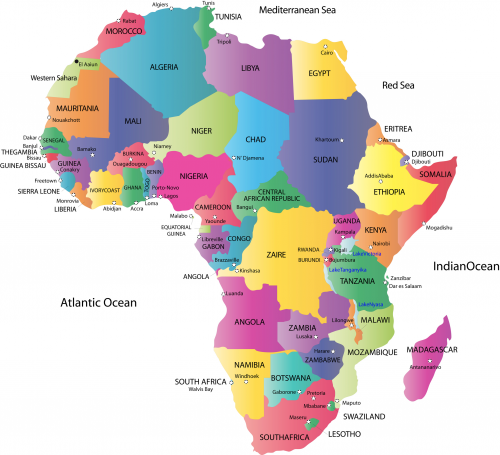 africa map with the countries and capitals