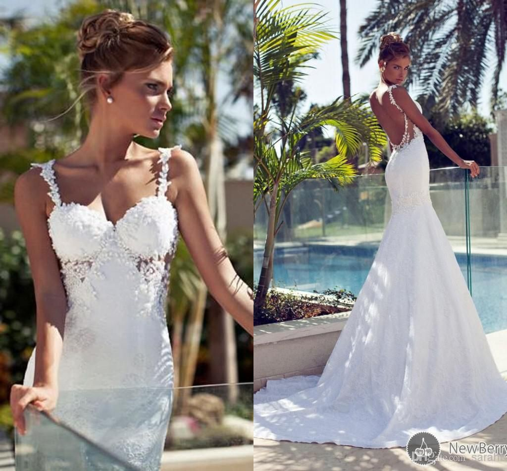bf4a227a43 Bling Bridal Dresses 2014 Mermaid Nurit Hen Vintage Long Train Cheap  Backless With Lace Wedding Dress Sexy Garden Ball Gowns Pearl Beach