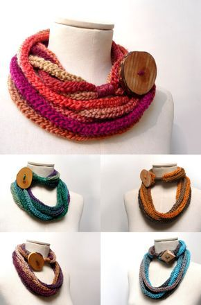 Photo of Loop Infinity Scarf Necklace, Knitted Scarlette Neckwarmer – Ombre yarn with giant wood button – CUSTOM COLOR