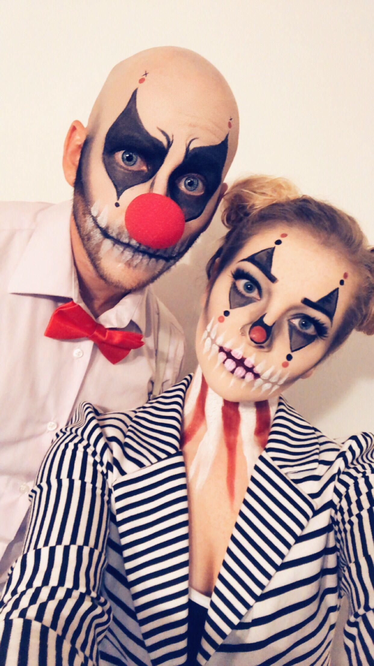 Couples Halloween clown skull costume Clown halloween
