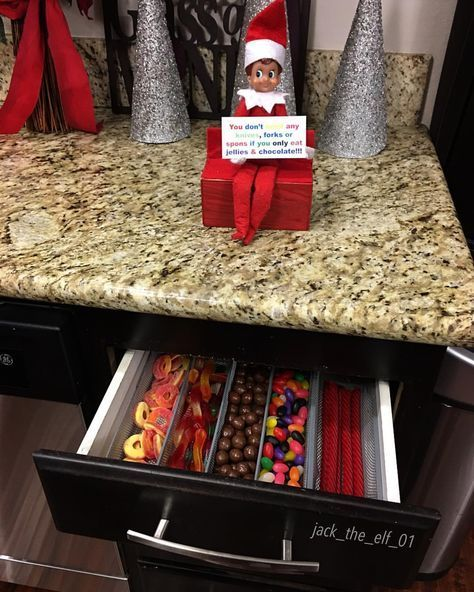 "Jack The Elf On The Shelf on Instagram: ""Day 23: Forget about knives , forks or spoons ��if you only eat gummy candies & chocolate � � #gummycandy #chocolate #elfontheshelf…"""