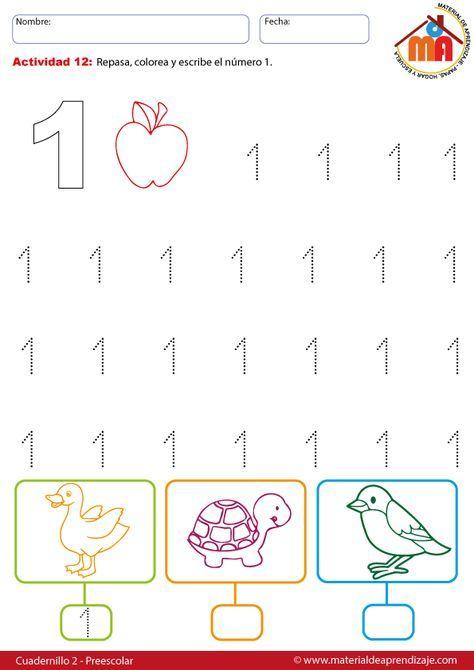 El número 1 - 12 preescolar | Mates | Pinterest | Preescolar ...