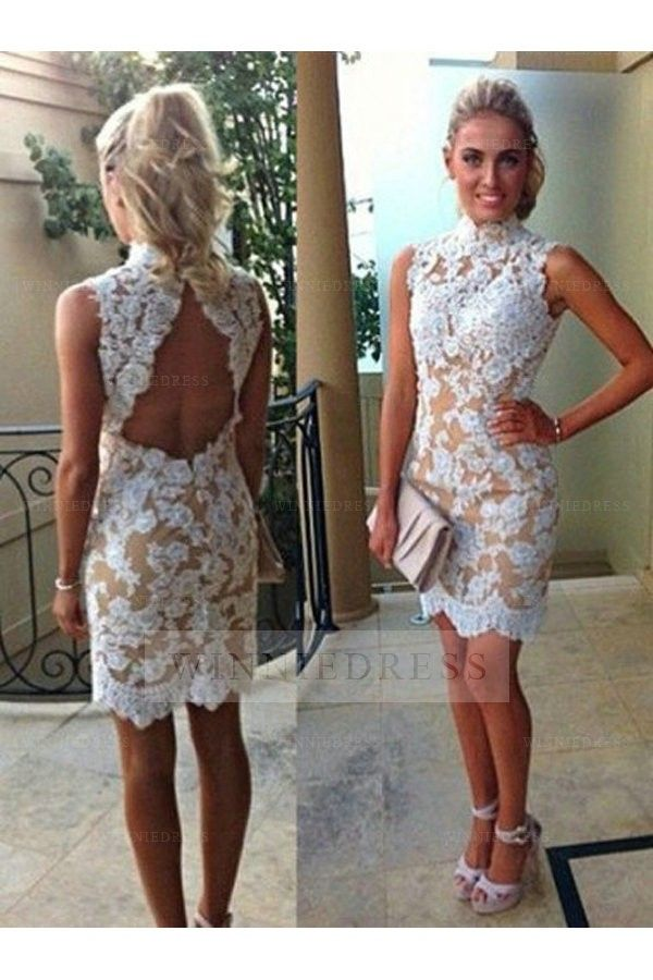 ea6001ee7c0 Shop discount High Neck Keyhole Back Knee Length Lace Applique Tight Fitted  Cocktail Party Dress WNHD0770