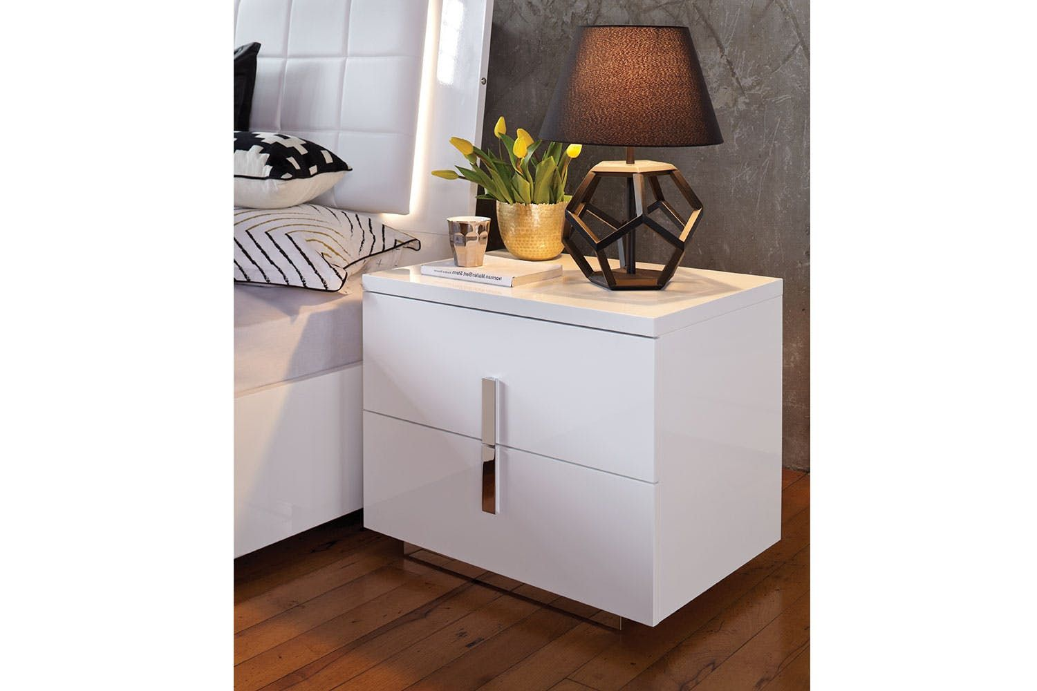 Quadro 2 Drawer Bedside Table By Insato Harvey Norman New Zealand Furniture Harvey Norman Home Decor