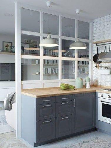 cool Idée relooking cuisine - Déco cuisine rétro avec une verrière