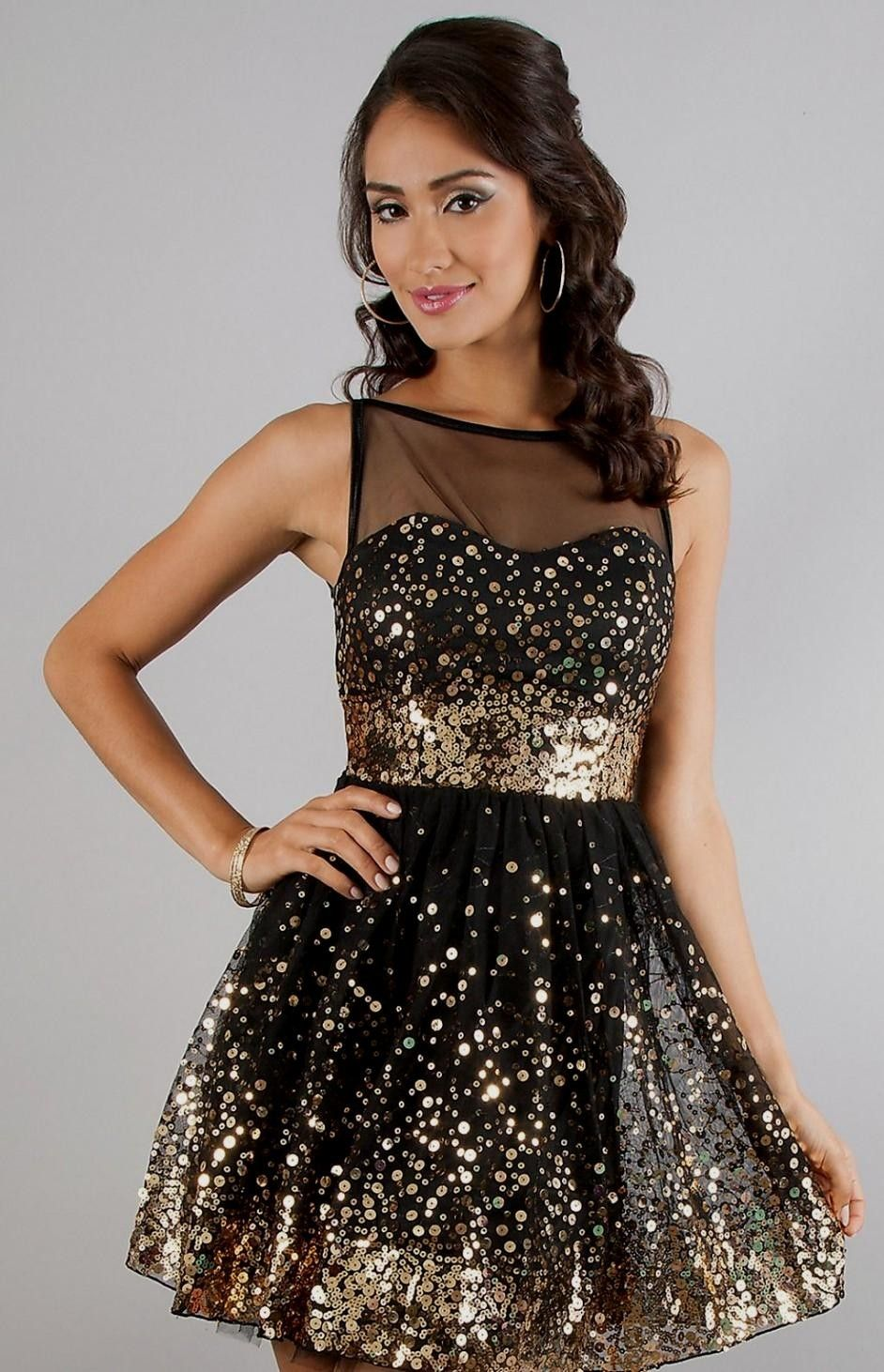 Black Gold Winter Formal Dresses Short