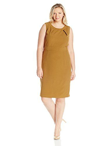 1a7a19f1c5 Kasper Womens Plus Size Stretch Crepe Sheath Dress 3 Bronze 22W      Continue to the product at the image link.