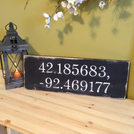 Coordinates Sign,  Coordinate Wood Sign, Latitude Longitude Wood Sign, Deployment Gift, Coordinates