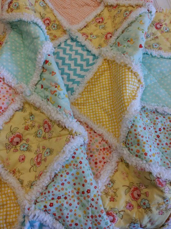 Patchwork Baby Grow Blanket Rag Quilt Rag Blanket Lap Quilt Shabby Chic Farmhouse