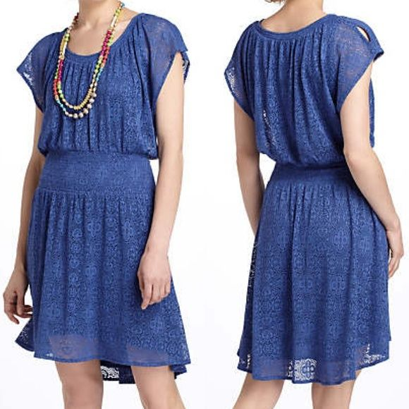 "Anthropologie Leifnotes Smocked Blue Lace Dress S Pretty fully-lined blue lace ""Smocked Mini Dress"" Anthropologie dress by Leifnotes, size small. Very flattering with an elasticized waist! The lining has light pilling throughout, but the dress is still in very good condition. Retailed for $138. *Authentic Anthropologie*  I'm happy to bundle and offer 20% off purchases of 2+ items. I'm also always open to reasonable offers. Thanks for looking! Anthropologie Dresses"