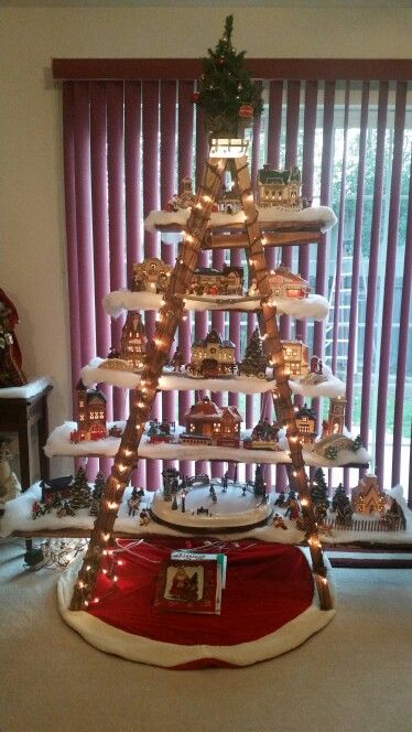 Mom S Wooden Ladder Christmas Tree Village Decorations