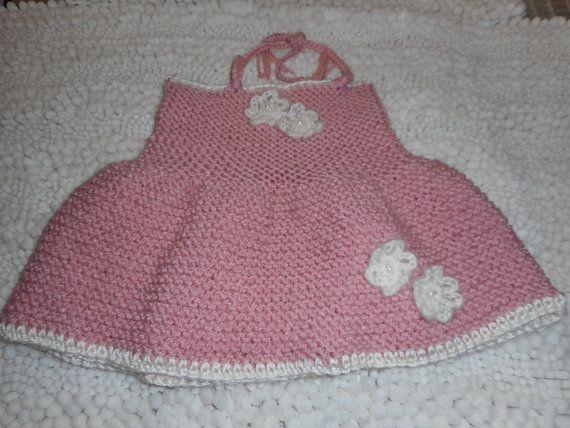Halter Dress Hand Knit Baby Dress Dresses Hand by bonitastewart