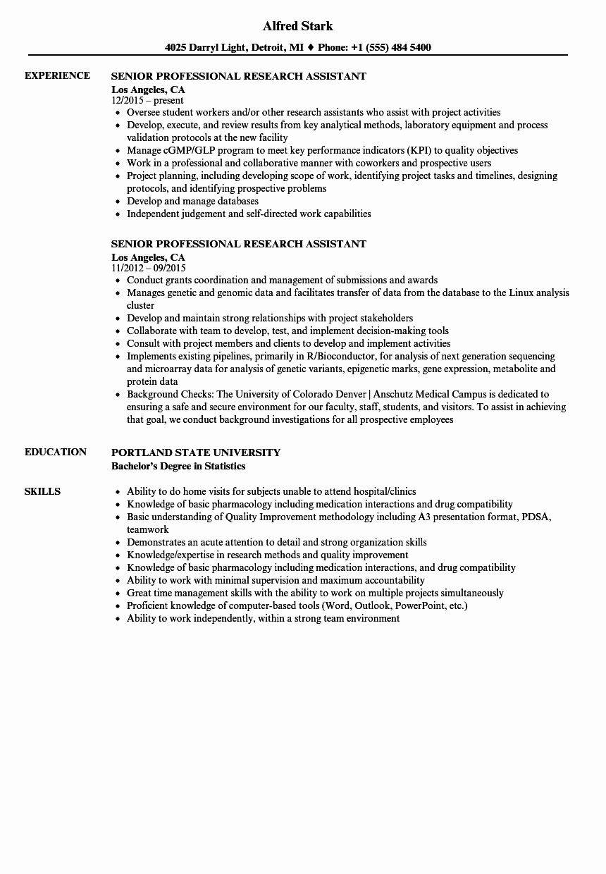 23 Research assistant Resume Examples in 2020 Resume