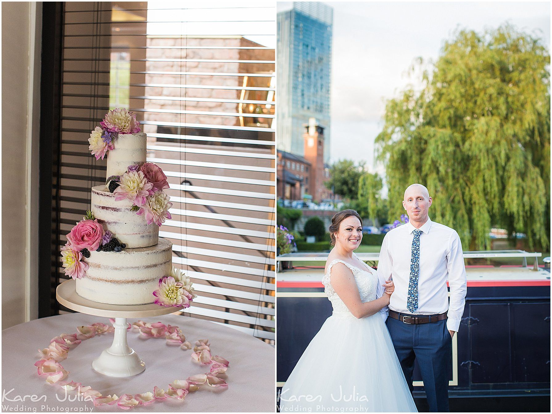 photos showing wedding cake in the Brindley Room, Castlefield Rooms and a couple portrait