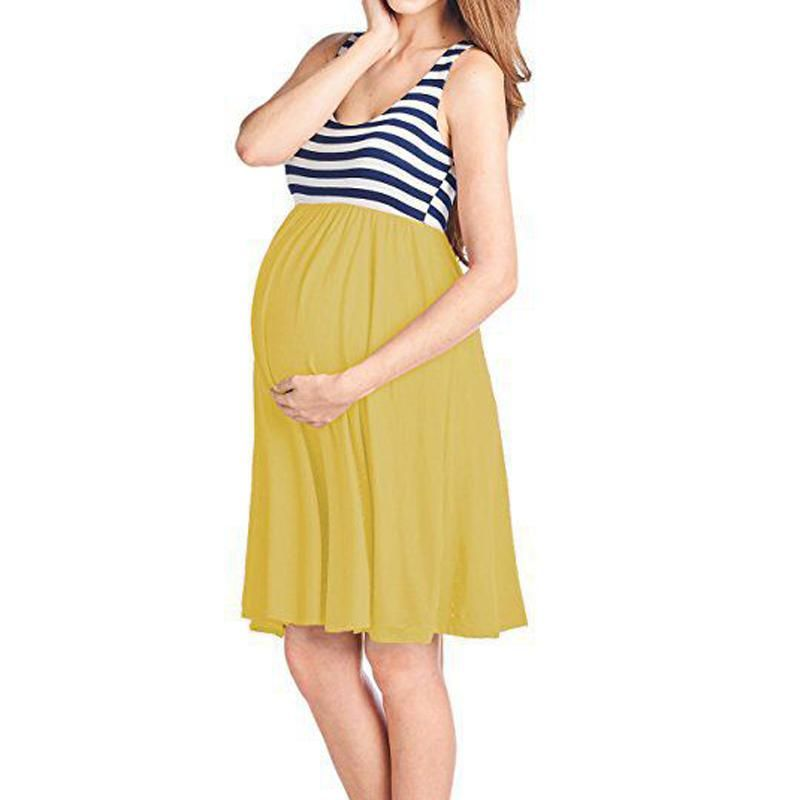 Summer Fashion Womens Maternity Casual O-Neck Sleeveless Pregnancy Clothes Dress