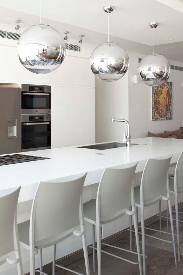 küche esstheke kochinsel weiß silberne kugel pendelleuchten - pendelleuchte für küche