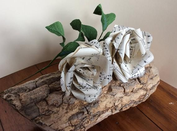 Two handmade Vintage sheet music paper Roses with crepe paper leaves - Wedding Decoration Flowers- L #crepepaperroses