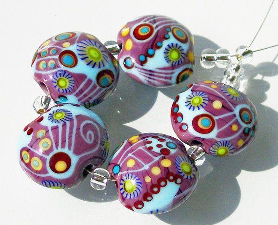 lampwork glass bead lentil set sra deep purple