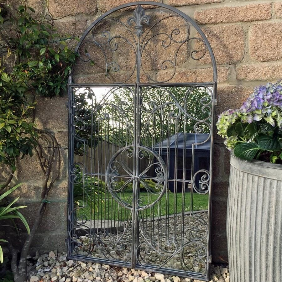 Distressed Grey Arch Metal Garden Mirror Large With Images