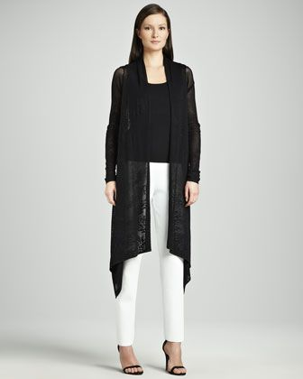 Lace Waterfall Cardigan, Scoop-Neck Tank & Side-Zip Slim Ankle Pants  by Carmen by Carmen Marc Valvo at Neiman Marcus.