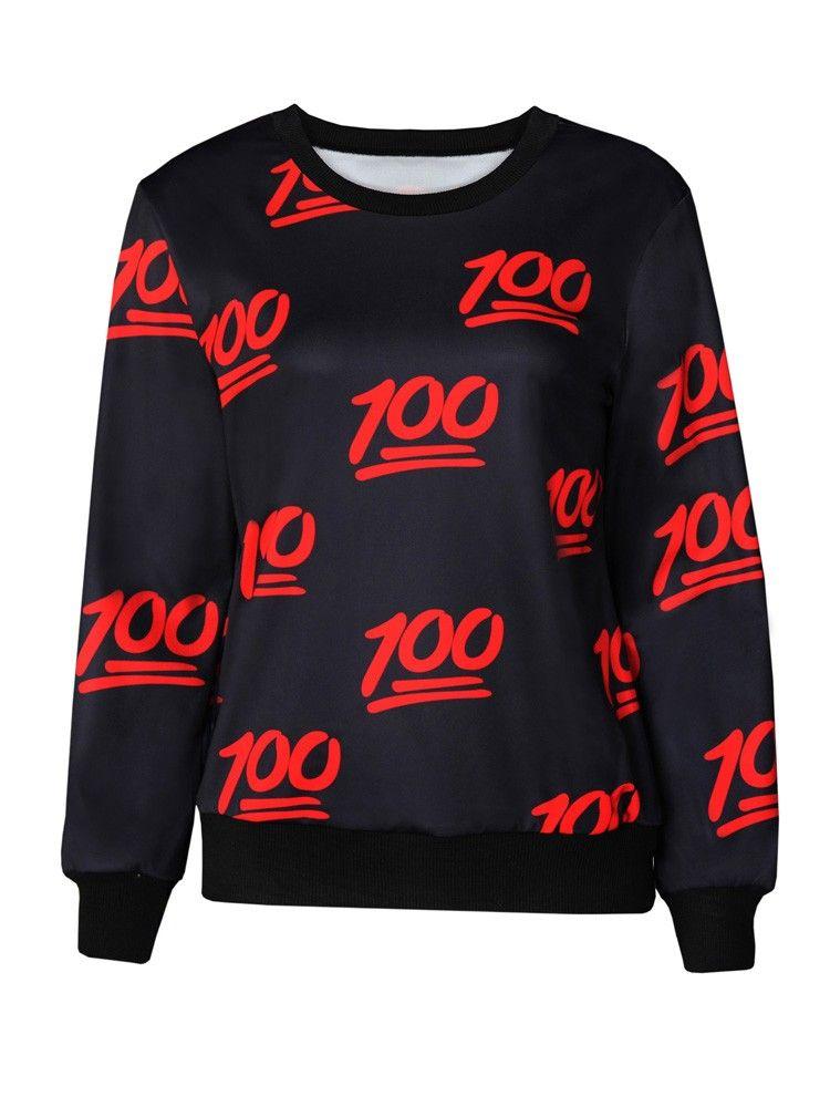 Black 100 Emoji Printed Clothing Sale Emoji T-Shirts Hoodies for ...