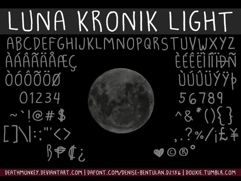 Luna Kronik Font | dafont com | Fontastic | Light font