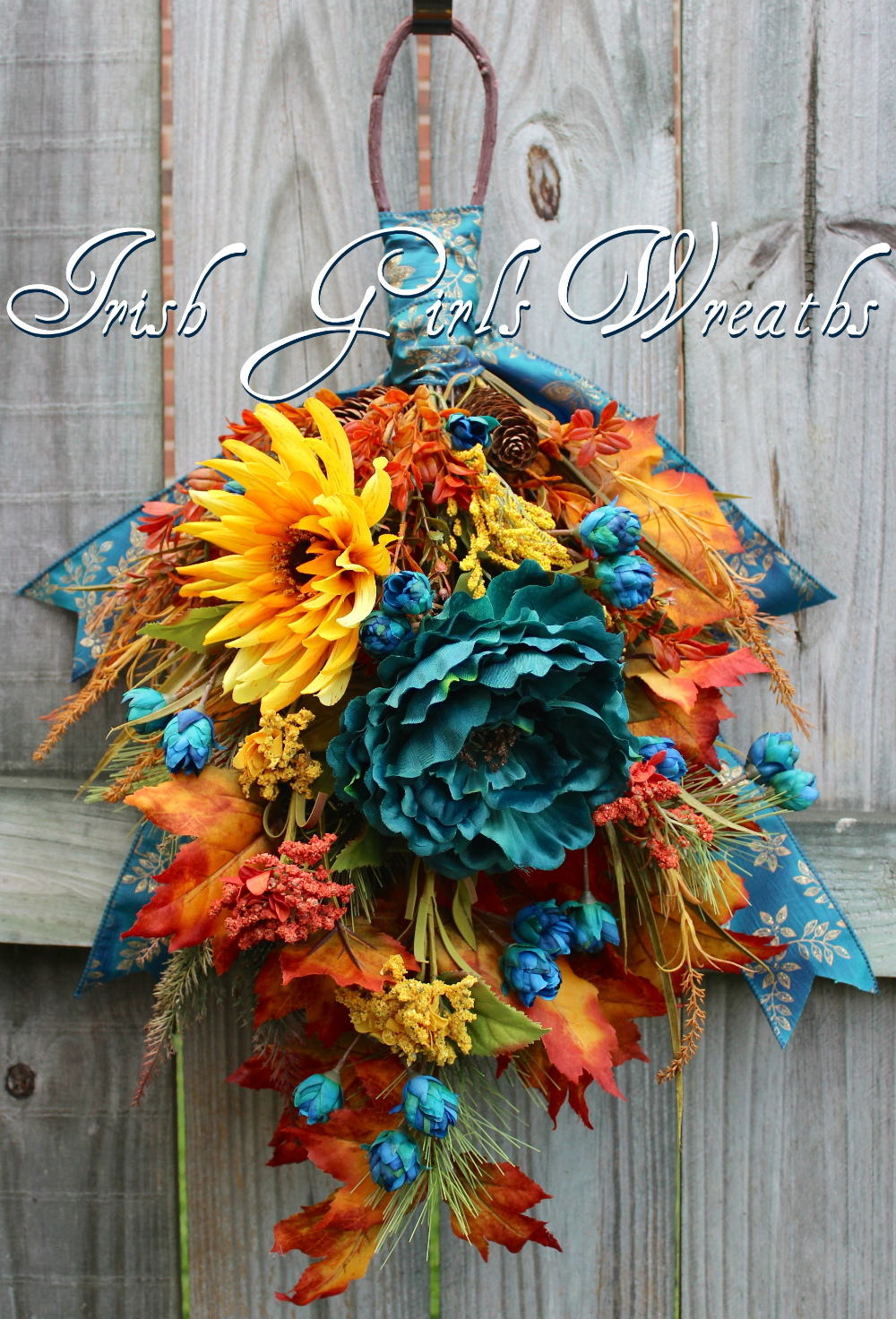 Fall Teal Floral Swag, Teal Gold Rust Autumn Wreath in