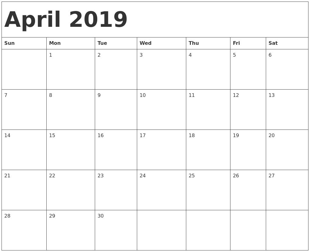 April 2019 Calendar New Zealand Blank Calendar Template