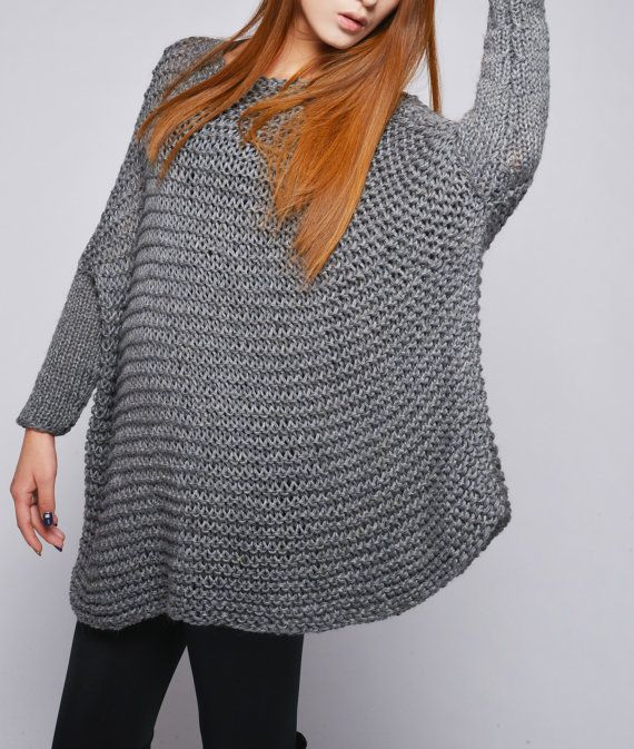This beautiful over-sized sweater features simple style with fitted sleeves that makes you stylish and on trend. It is made of 100% eco cotton yarn in a beautiful charcoal/ dark grey color. No itch at all! It is a perfect item for Fall/winter that you can layering with tunic or shirt.  Size: one size fit most. Hand wash only and lay flat to dry.  I have other colors for this poncho. Pls. Check my shop for details: http://www.etsy.com/shop/MaxMelody?section_id&#x3...