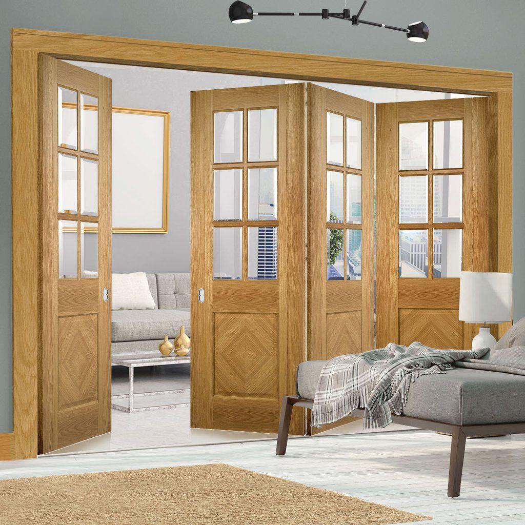 Deanta door folding set kensington oak panel door with clear