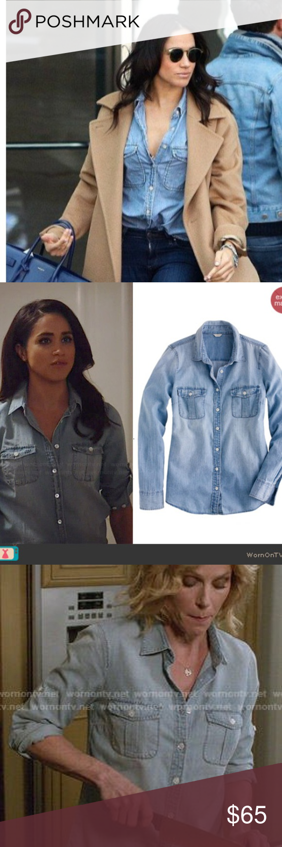 J crew blue lace dress march 2019 HPJCREW chambray shirt  as on Meghan Markle in   My Posh