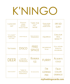 Free Printable Bingo Cards | furries | Free printable bingo