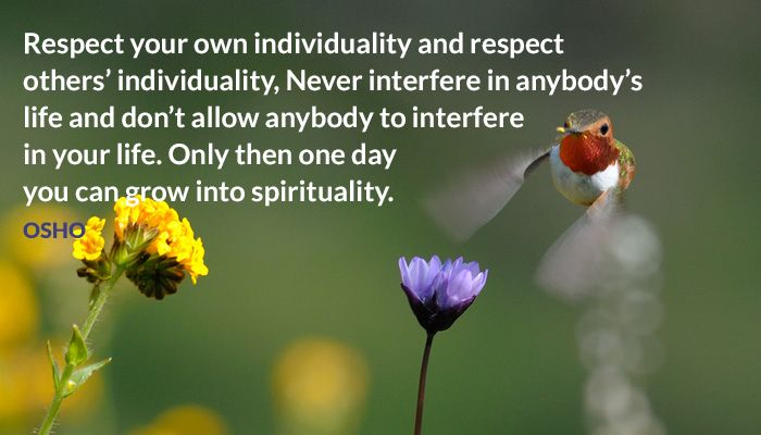 Respect your own individuality and respect others' individuality, Never interfere in anybody's life and don't allow anybody to interfere in your life. Only then one day you can grow into spirituality. OSHO #respect #individuality #life #interfere #anybody #grow #spirituality #osho