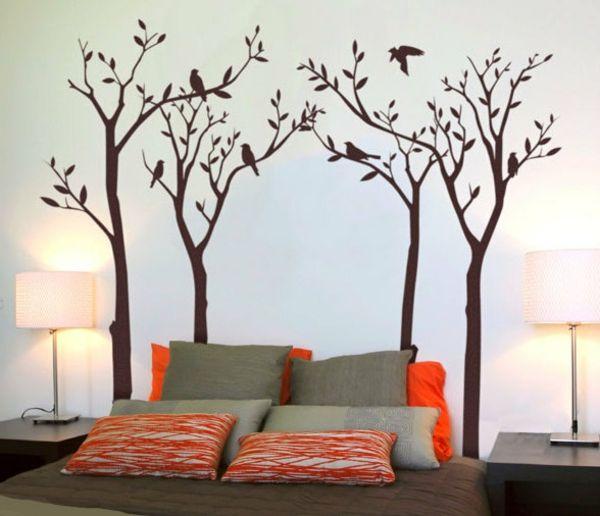 Wanddeko im schlafzimmer mit einem gemalten baum kinderzimmer schlafzimmer kinderzimmer und - Wanddekoration kinderzimmer ...