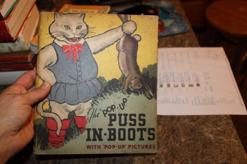 Vintage Puss in Boots Fairy Tale Pop-Up 1934 Blue Ribbon Press Pop Up Book - LUD