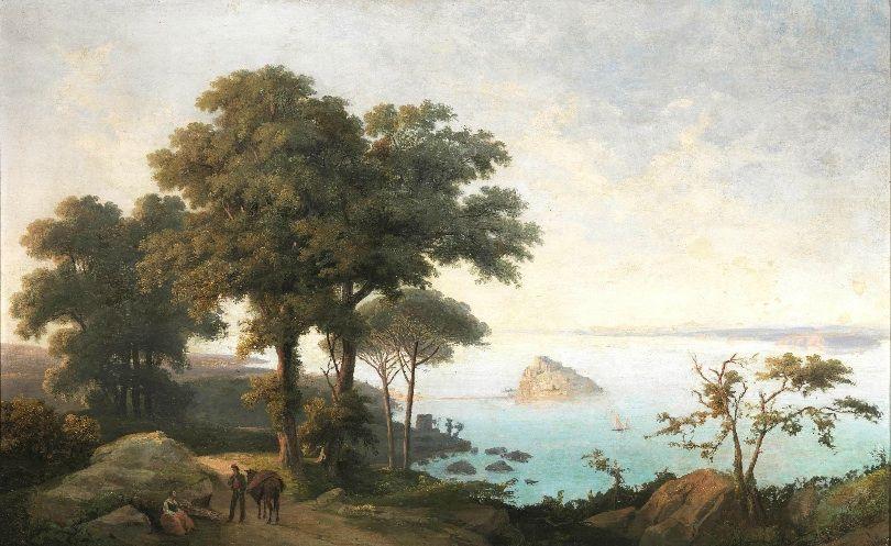 Salvatore Fergola, (Naples 1799 - 1874) View of Nisidia, 1954, Oil on Canvas 90com x 140cm  http://www.pandolfini.it