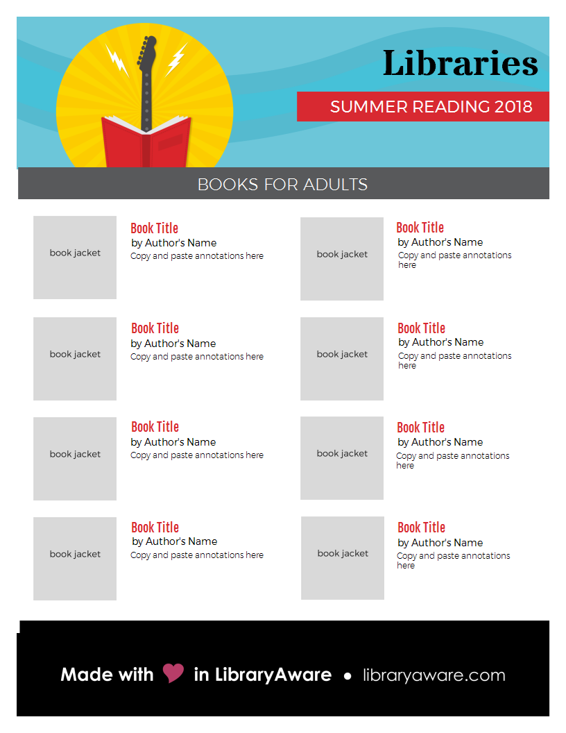 promote your librarys summerreading book list with this catchy flyer template readersadvisory
