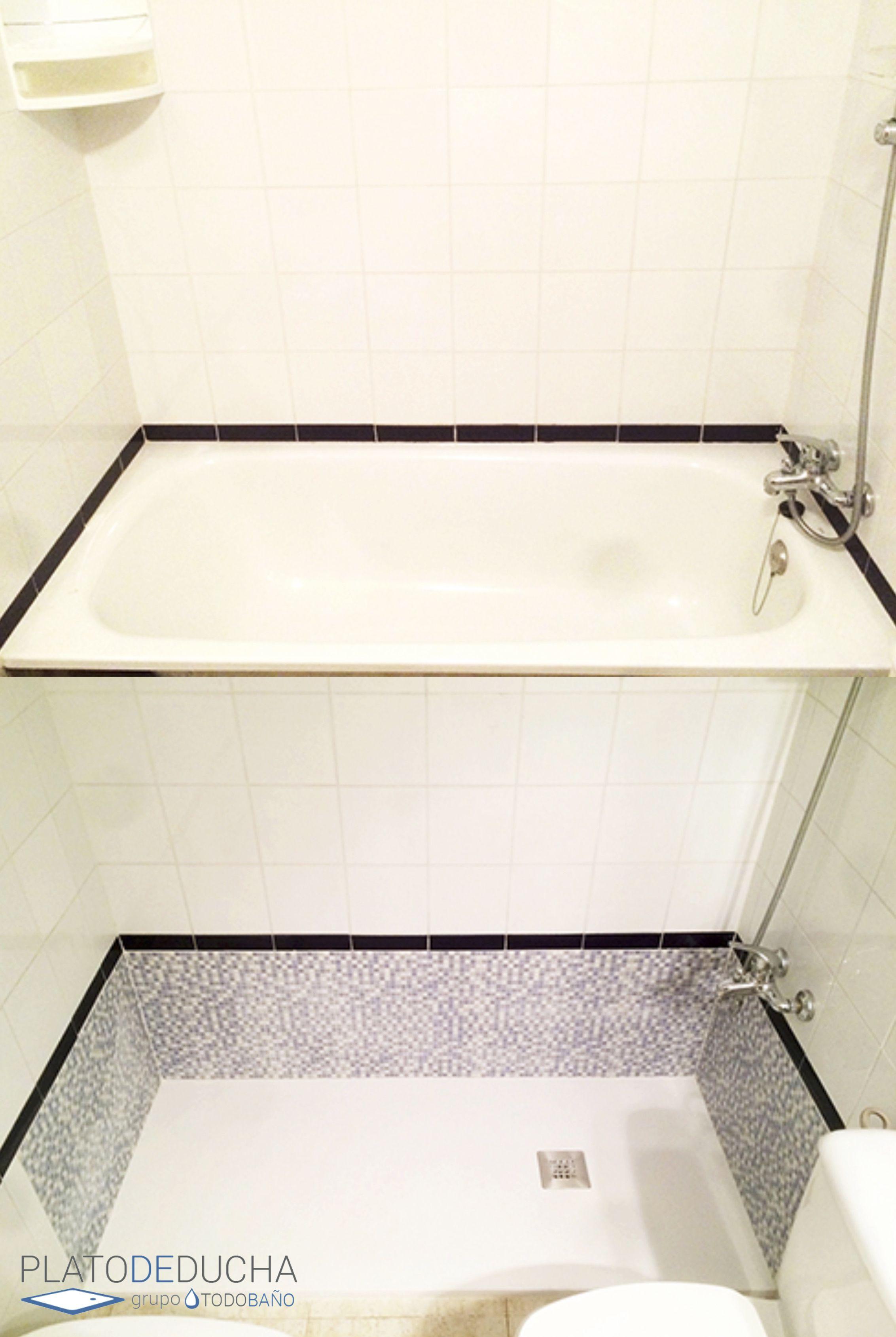 A Petición Del Cliente Retiramos Su Antigua Bañera Colocando En Lugar De Esta Un Plato D Platos De Ducha Cambio Bañera Por Ducha Azulejos Para Baños Pequeños