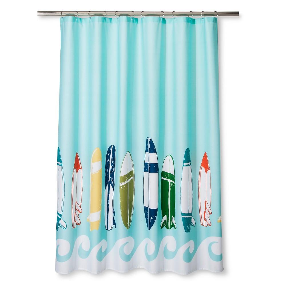 Surfboards Shower Curtain Blue Ocean Pillowfort With Images Kids Shower Curtain Fabric Shower Curtains Pillow Fort