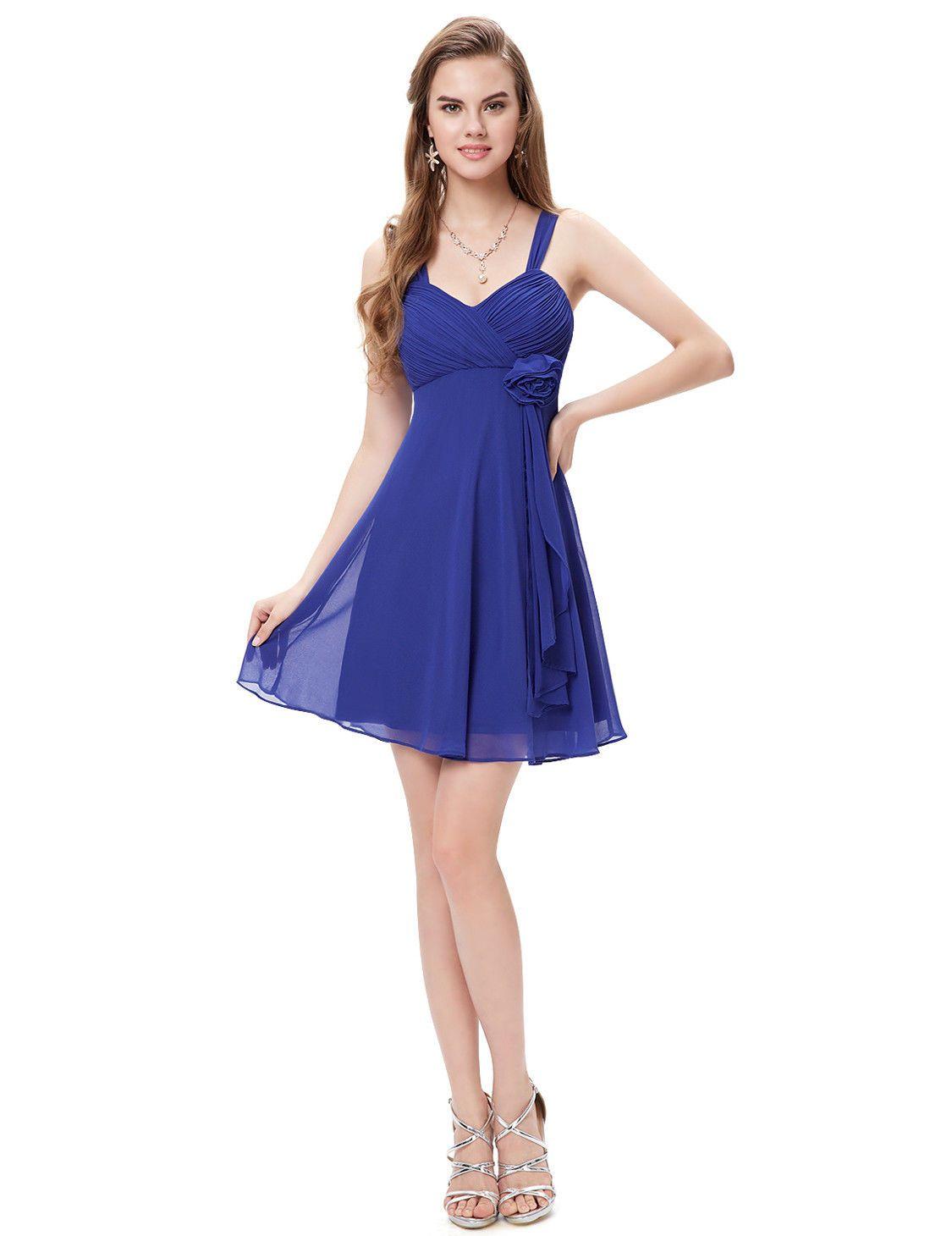Cool us short bridesmaid prom dress sapphire blue evening size