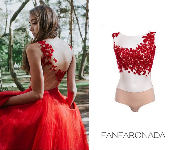 Lace Bodysuit Blouse Red Evening Dress Top Wedding Gown